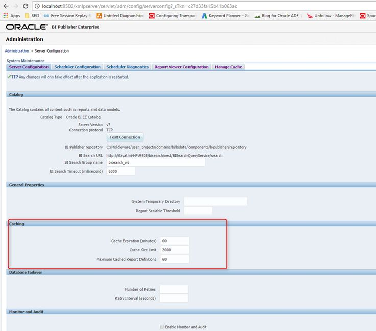How to configure BI Publisher cache and clear cache
