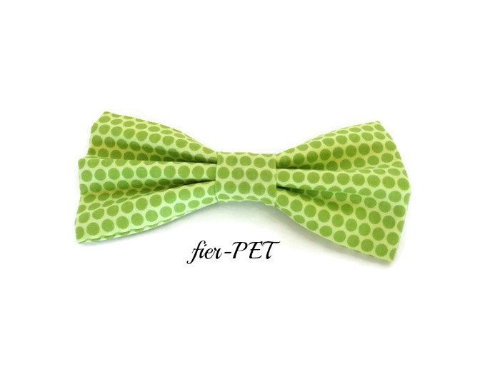 Bow tie for dog collar,green,dot, summer,fier-pet,fierpet,large dog collar,dog accessories,small dog collar by Fierpet on Etsy