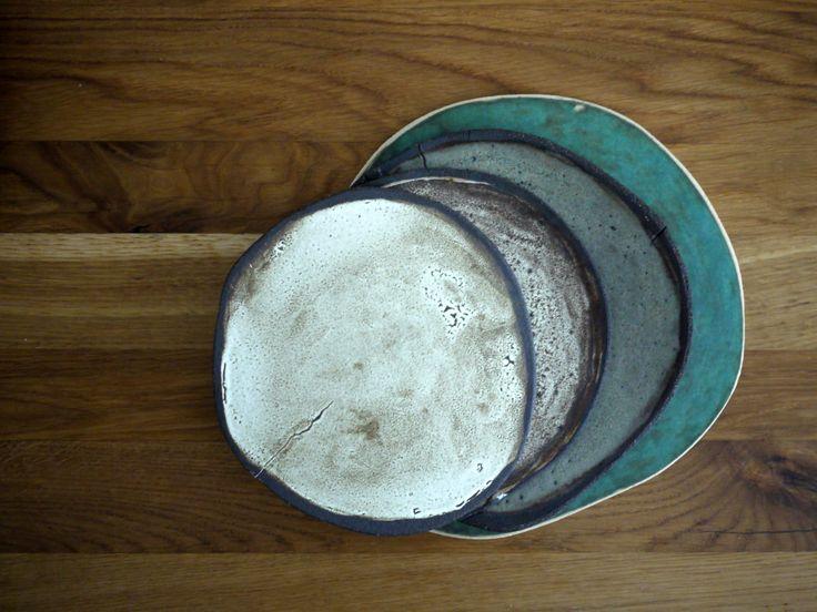 ceramic plates, handmade, tableware, dinnerware off white, grey, green emerald,