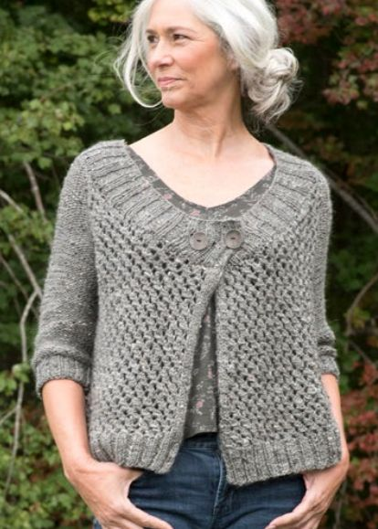 "Free Knitting Pattern for Battine Cardigan - This sweater features a 4 row repeat open-work stitch pattern, a wide-ribbed neckline, and elbow-length sleeves. Quick knit in bulky yarn. Sizes: Bust (closed) – 32(36-40-44-48-52)"". Designed by Donna Yacino"