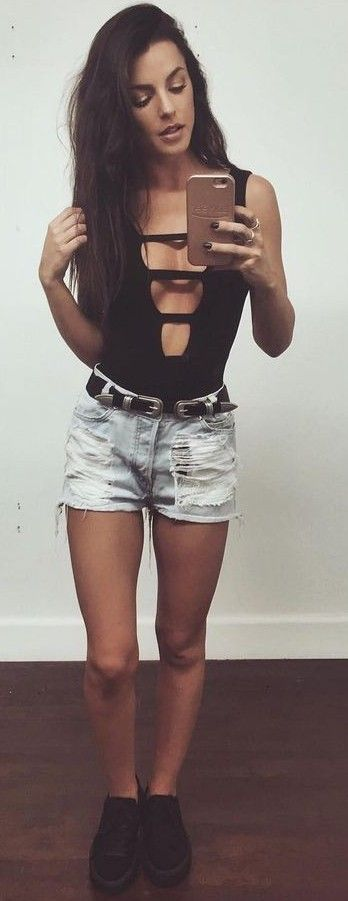 #summer #latest #trends |  Black Bodysuit + Denim Shorts