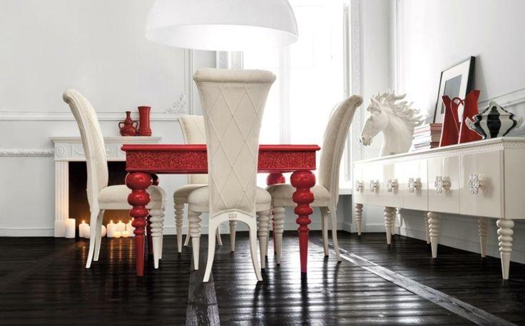 salle à manger moderne en rouge et blanc