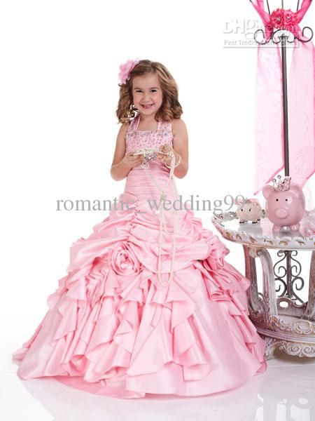 Lovely Pink Halter Princess Ball Gown Children's Pageant Dresses Taffeta Girl Formal Gown Bridesmaid