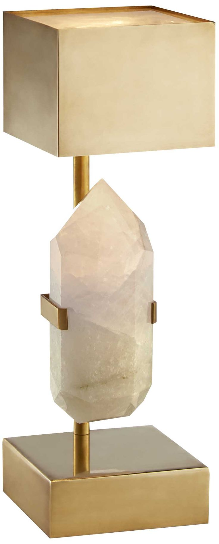 KELLY WEARSTLER | HALCYON DESK LAMP. Hand-selected natural quartz and sculptural brass