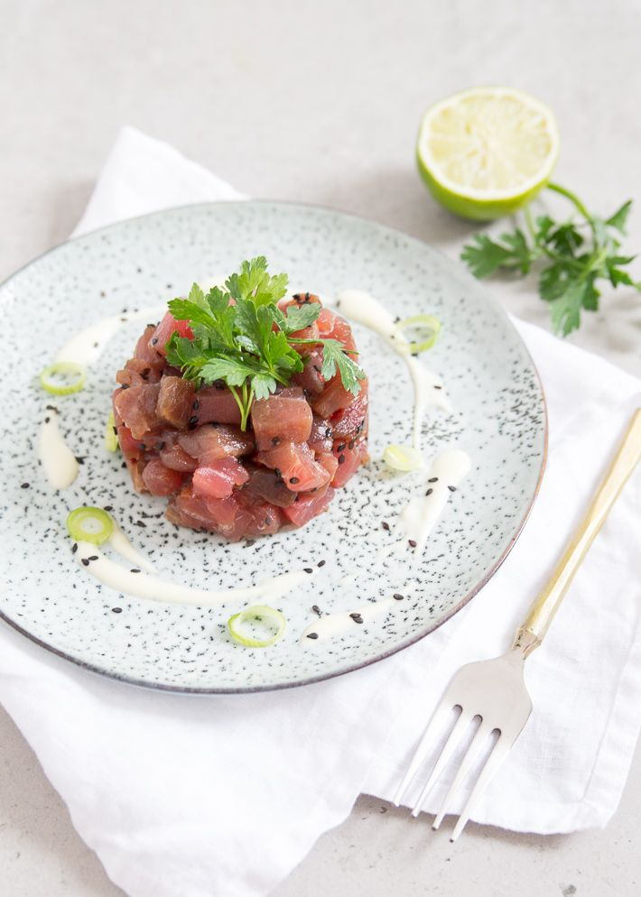 tonijntartaar met wasabi mayonaise