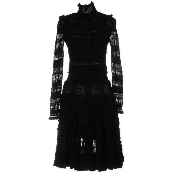 Alexander Mcqueen Short Dress (€2.110) ❤ liked on Polyvore featuring dresses, black, turtleneck dress, long-sleeve turtleneck dresses, long sleeve dresses, alexander mcqueen and pocket dress