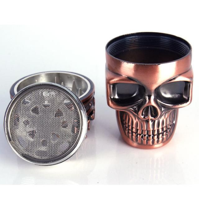 Spice Weed Herb Grinder. Creative Skull 3 layer Cigarette Tobacco Pipe Accessories .