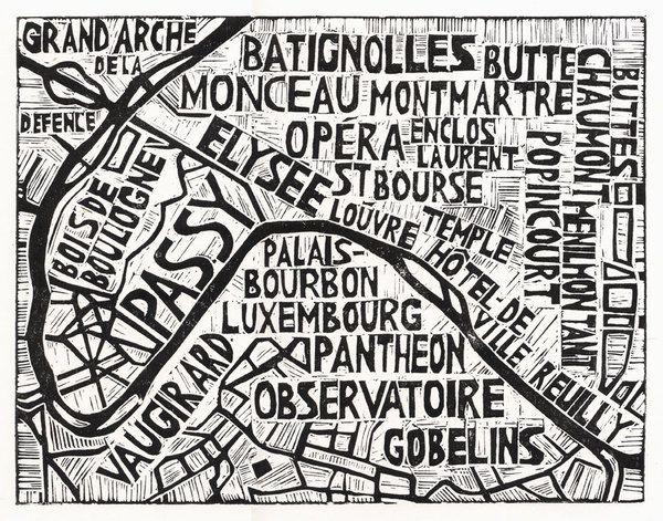 ABI DAKER, Typographic Linocut Map of Paris Arrondissements.