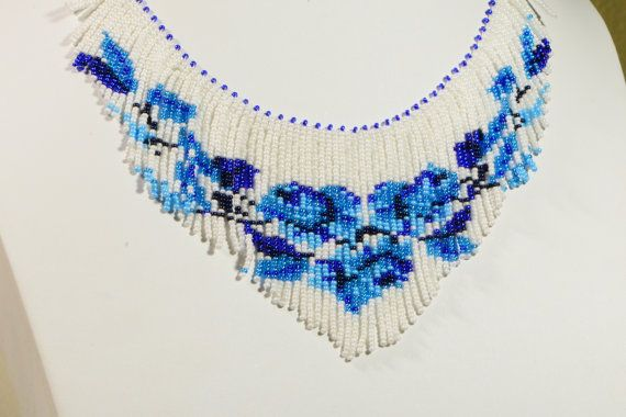Blue White Beadwork Rose Necklace Beadweaving by Trendydeals