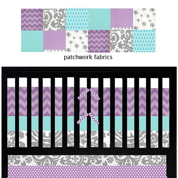Purple And Turquoise Nursery Bedding Custom Baby Aqua Grey Stuff Pinterest
