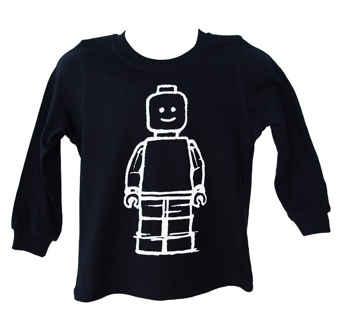 Navy Lego minifigure inspired long sleeved t-shirt