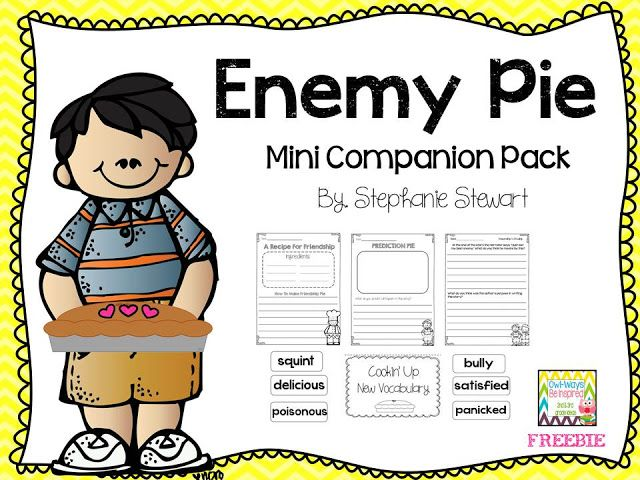 Enemy Pie {freebie} before, during and after reading. Predict, infer, vocabulary. Super cute