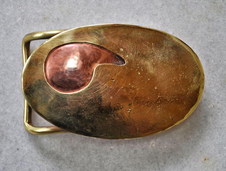 "Handmade belt buckle ""Paisley"" in brass and copper #Handmade"