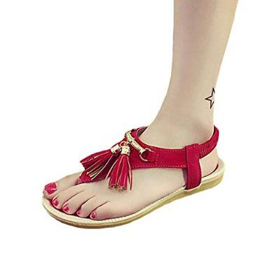 Perfect for the first Husker Games this fall! Women's T-Straps Tassels Rivets Studded Dress Sandals Thongs Shoes