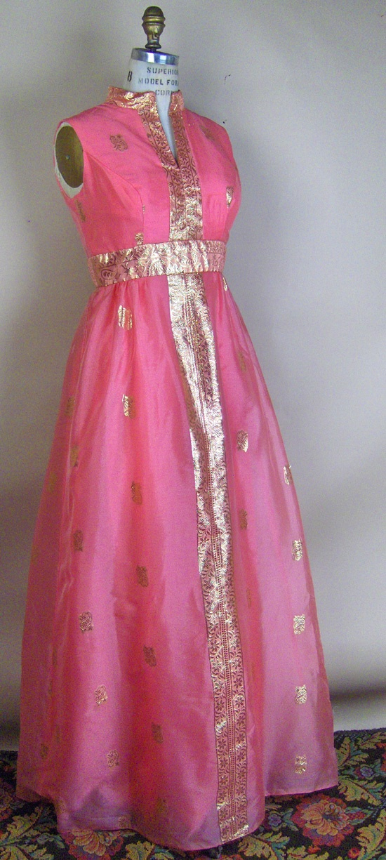 Image detail for -1970s sari cloth vintage gown in coral pink and gold