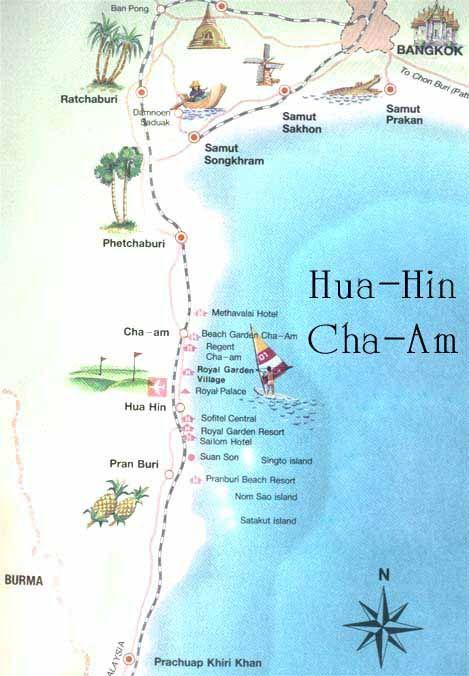 Map of Hua Hin and Cha Am