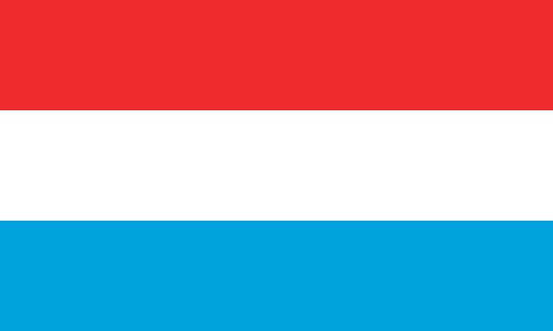 National flag of Luxembourg from http://www.flagsinformation.com/luxembourg-country-flag.html  Three equal horizontal bands of red (top), white, and light blue; similar to the flag of the Netherlands, which uses a darker blue and is shorter; design was based on the flag of France.