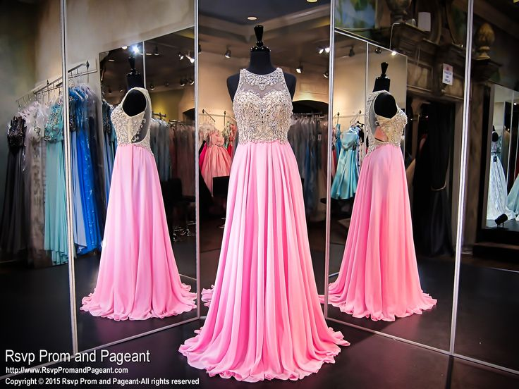 This pink chiffon dress is perfect for dancing the night away! It's available at Rsvp Prom and Pageant, your source for the HOTTEST Prom and Pageant Dresses!
