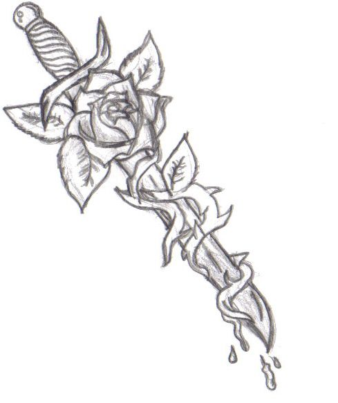 dagger tattoo - similar concept, dagger with vines, no rose though.