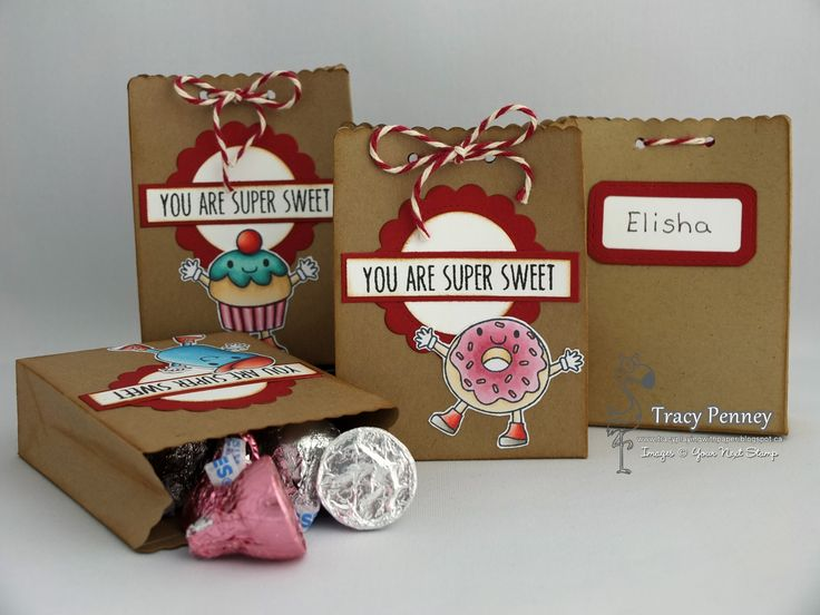 Treat bags for gifts for the kids classmates. Stamp: Cute Foodies (Your Next Stamp) Die: Little Shopping Bag (Your Next Stamp)