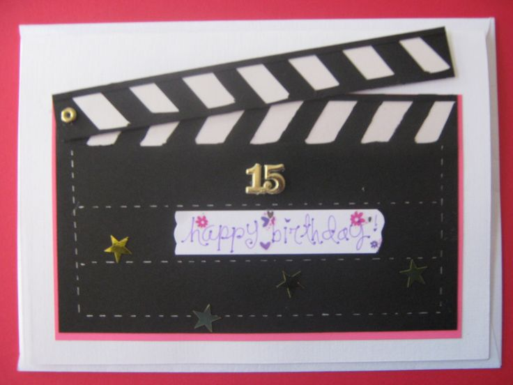 The lady whom this card is for, loves cinema themes, so this is special for her 15th b'day. It also has a cute envelope inside. This card is used for invitations too.  La quinceañera ama el cine, por eso este motivo; dentro lleva un sobre por lo q es lluvia de sobres el regalo. Esta tarjeta tambien se puede elaborar para invitaciones.
