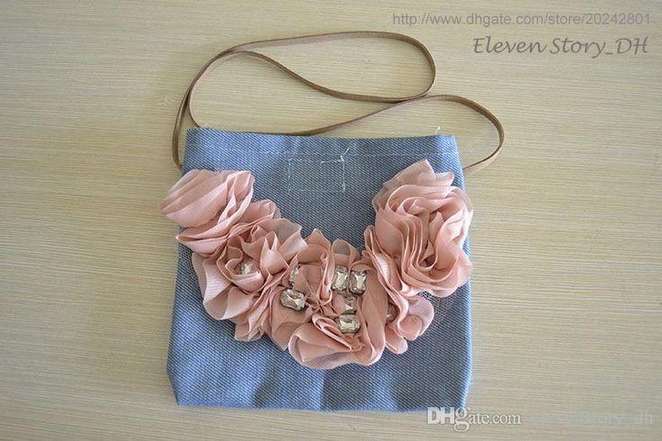 [Eleven Story DH] baby Girls new 2016 kids flower denim bags retail wear ES505BG-32R