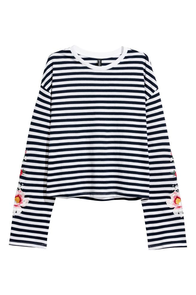 Jersey top with embroidery - Dark blue/Striped - Ladies | H&M GB 2