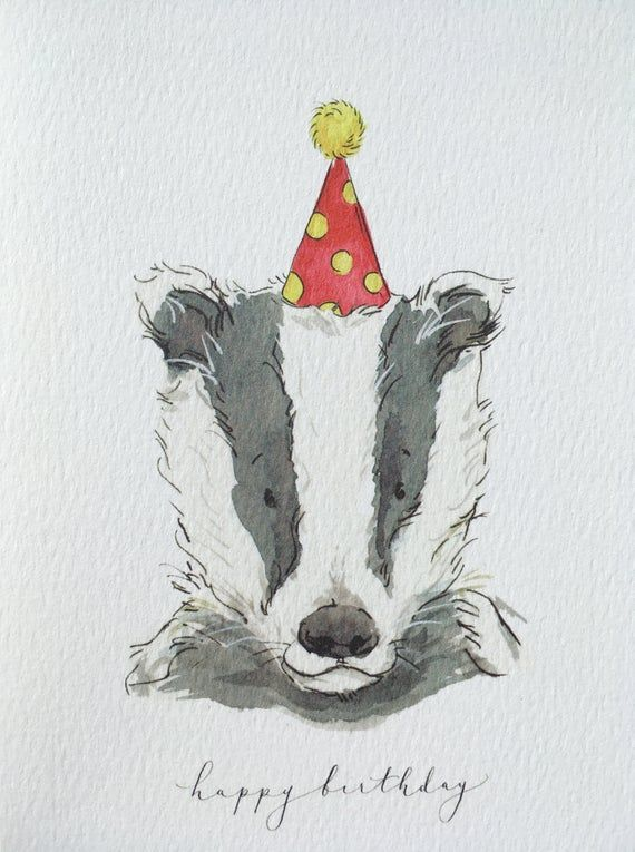 Happy Birthday Card Birthday Badger Badger Illustration Badger Card A6 Greeting Card Birthday Card Cute Card Cute Cards Birthday Cards Happy Birthday Cards