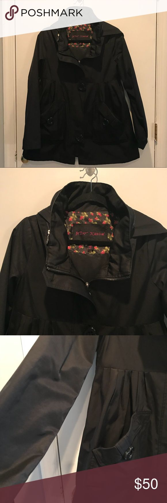 Betsey Johnson Hooded Raincoat Betsey Johnson Hooded Raincoat With Heart Shaped Buttons. Drawstring That Ties In Back. Zips Up. Gently Used / Excellent Condition Betsey Johnson Jackets & Coats