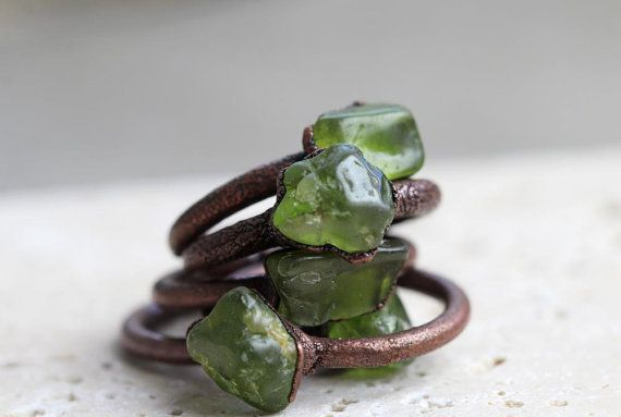 Peridot Ring Electroformed Stone Leo Birthstone Copper Ring