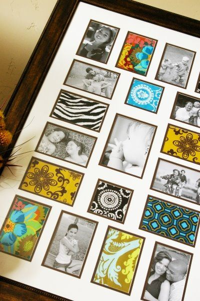 Use fabrics to fill empty picture frame spots. Cute!
