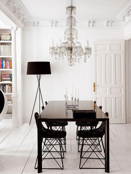 chandelier in a modern dining room