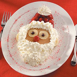 Santa Pancakes  maybe use strawberries instead of cherry pie filling