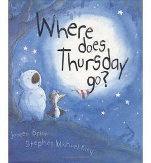 Check out my blog at... http://southwelllibrary.blogspot.co.nz/2014/05/where-does-thursday-go-by-janeen-brian.html  Read a good book lately?: Where does Thursday go? by Janeen Brian (picture book)