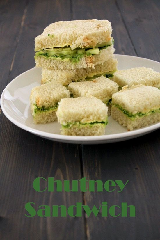 Chutney sandwich recipe - Quick and simple to make sandwiches. Only butter and flavorful green chutney is spreaded in this sandwich.