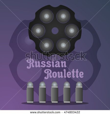 Concept russian roulette game on gradient background. Logo Russian roulette style. Vector illustration.