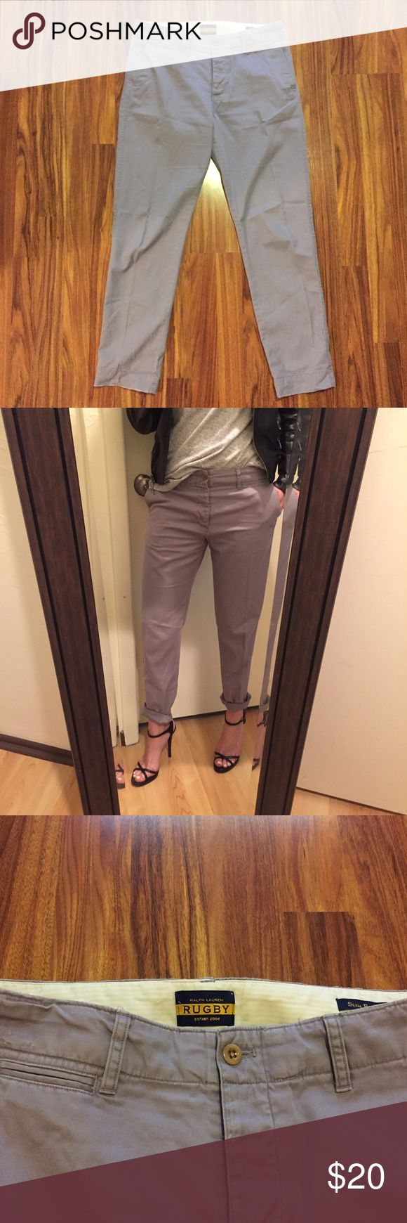 """RUGBY RALPH LAUREN Boyfriend Chino Fit is """"Slim Boyfriend"""". Lightweight chino pant, 100% Cotton.  Color is a pastel purple.  Slight distressing around pockets and bottom hems.  37.5"""" long from waist to bottom hem, 10"""" rise, waist measures 16.5"""" when laid flat.  Great condition. Ralph Lauren Pants"""