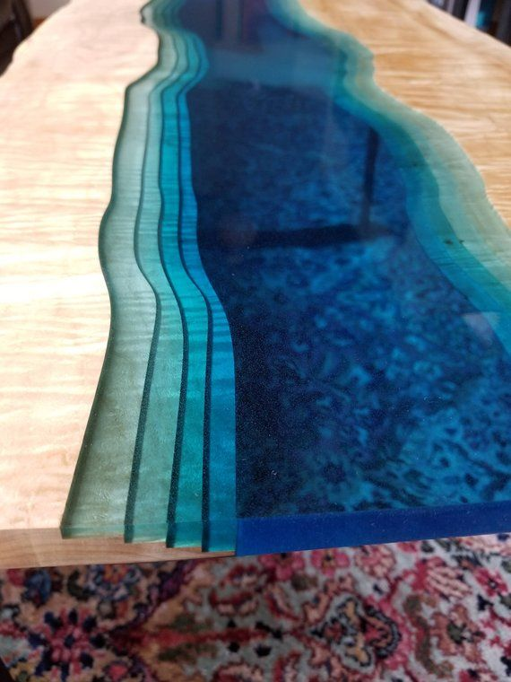 SOLD – Live Edge with See-Through Epoxy River coffee table – live edge coffee table – river table –