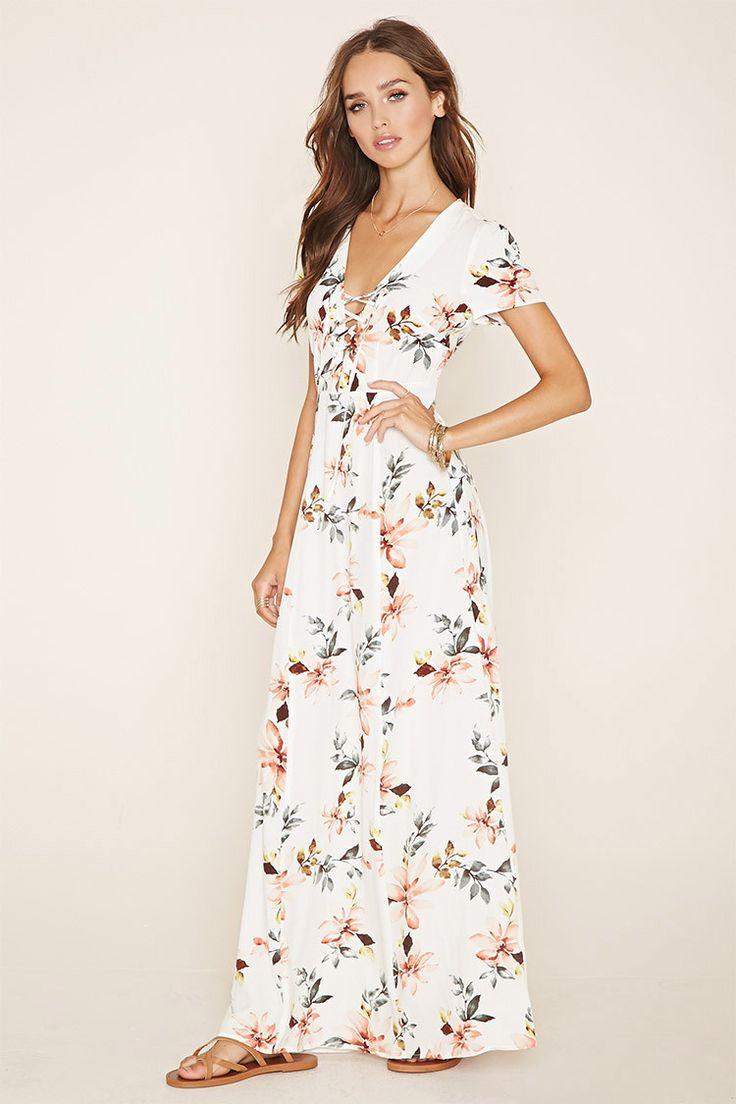 F21 Lace-Up Floral Maxi Dress (Cream/Multi) $27.90