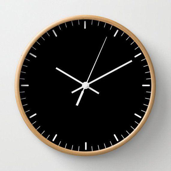 Black Wall Clock Classic Design Black And White Minimalist Etsy In 2020 Black Wall Clock Wall Clock Classic Wall Clock