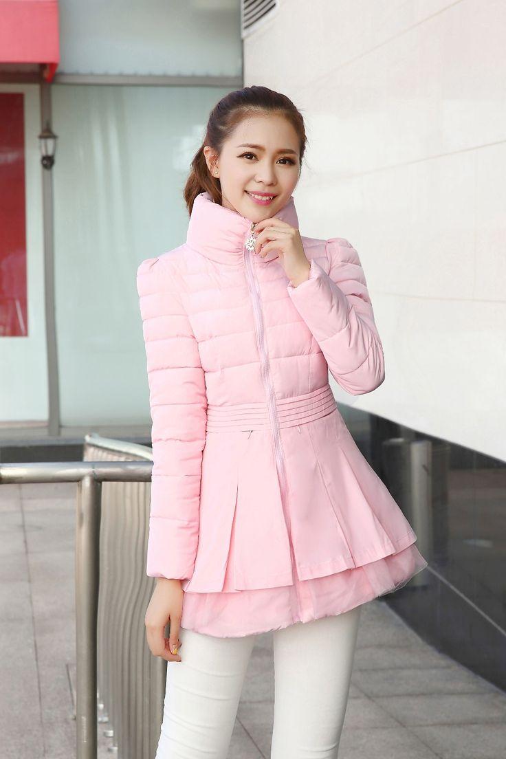 Мода девушка куртка зимнее пальто женщин парка кружева оборками куртки женский тонкий дамы пальто верхней одежды розовый купить на AliExpress