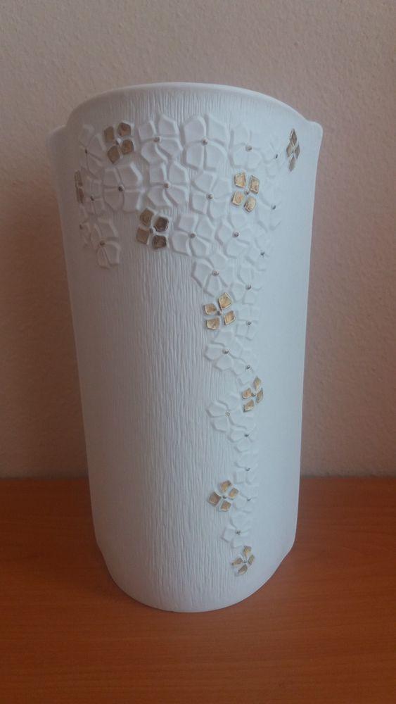 Tirschenreuth 1838 Porzellan zarte Blumenvase Vase Vasen weiß gold Blümchen