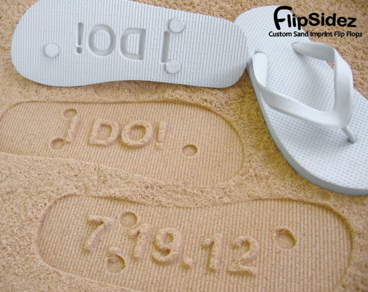 Beach Wedding Flip Flops. Personalize With Your Sand Imprint