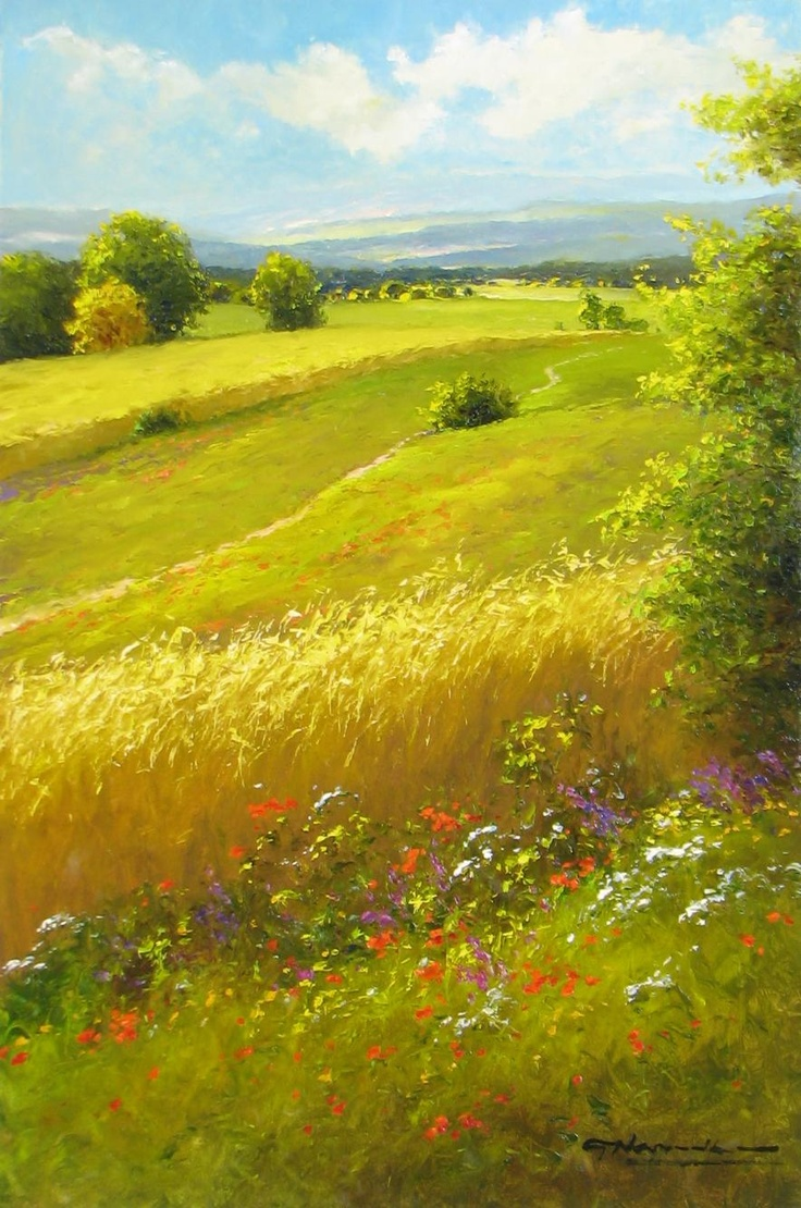 Image result for endless green field oil painting