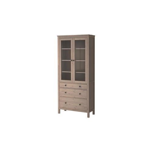 HEMNES Ντουλάπι 3 συρτάρια, γυάλινη πόρτα, γκρι-καφέ  €349,00