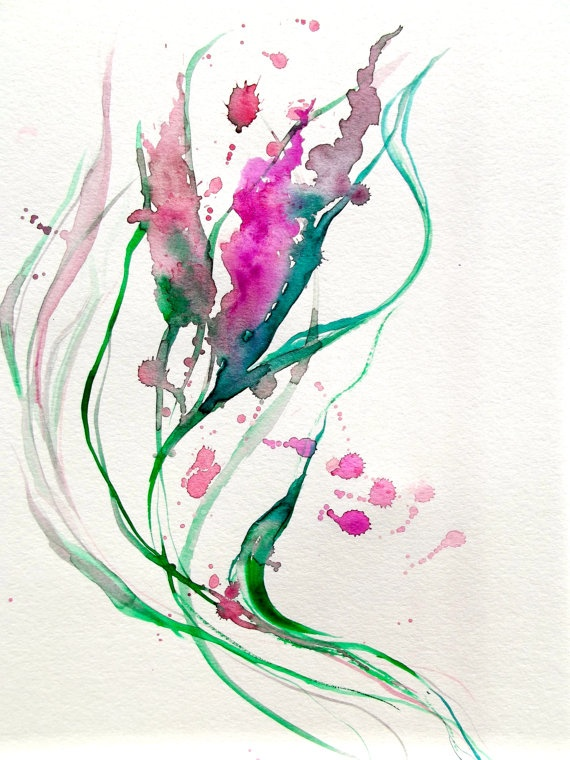 Original Abstract Watercolor Painting - LanasArt - Color Me Pretty Pink.
