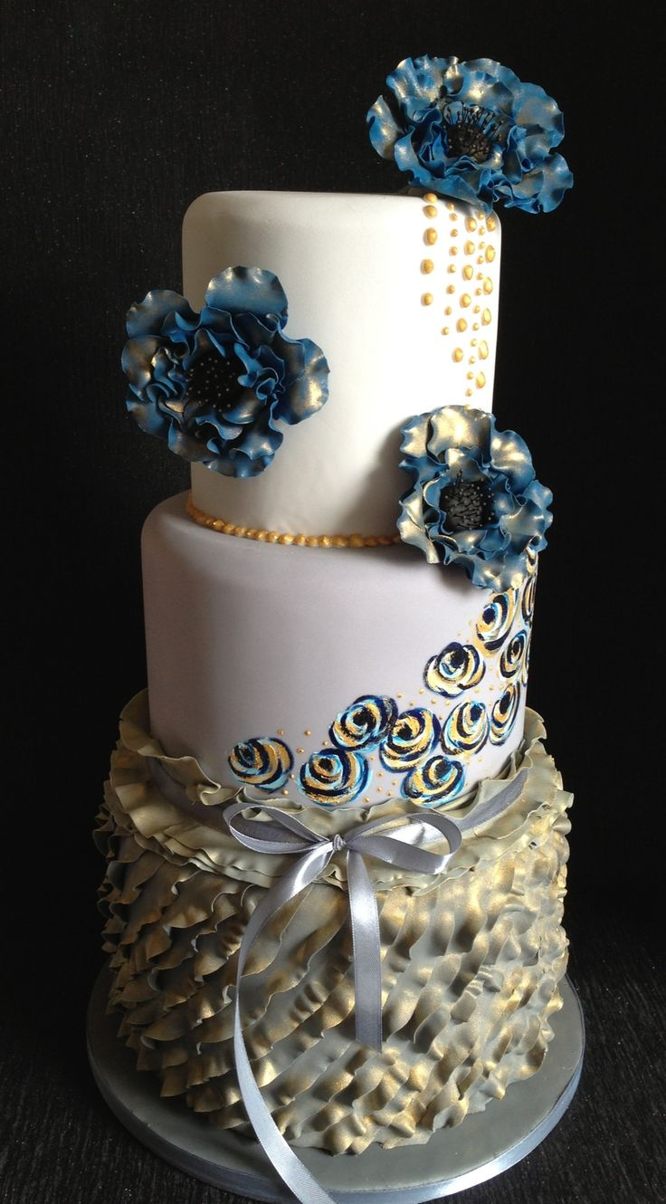 Gold And Grey With Sapphire Blue Flowers Wonderful