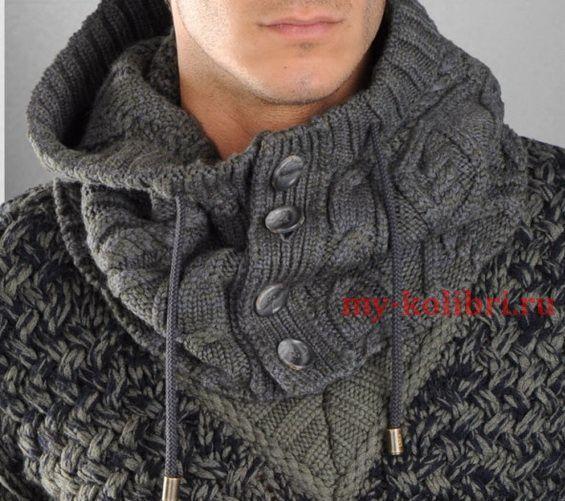 Вязание мужского снуда спицами с пуговицами на планке и узором из кос со схемой и описанием на сайте Колибри. Такой вязанный снуд отлично сочетается с теплым свитером, пуховиком или спортивной курткой.