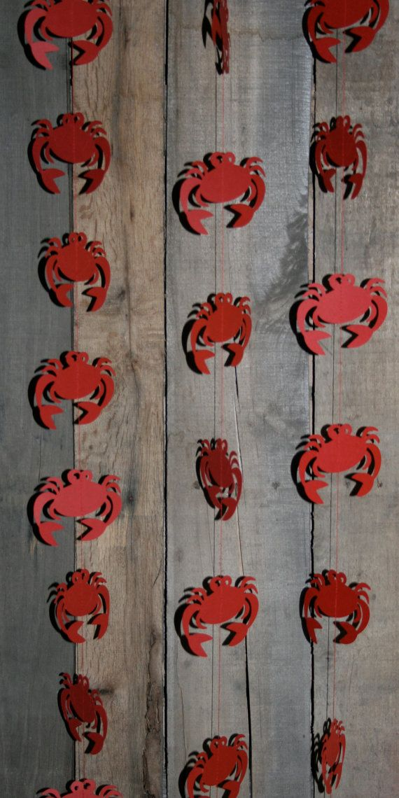Crab Garland 12 Hanging Crabs Paper Garland by TheShabbyScrapper