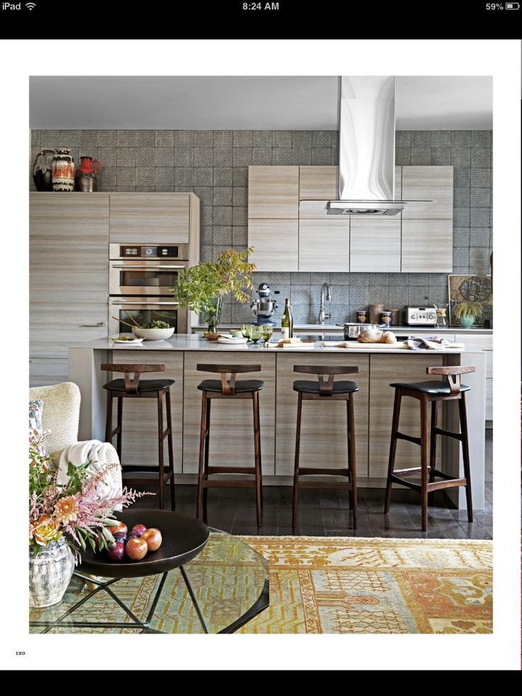 Small Kitchen Vintage Danish Stools In Contemporary Kitchen Design By David  Rockwell. More Color Than Other Contemporary Kitchens